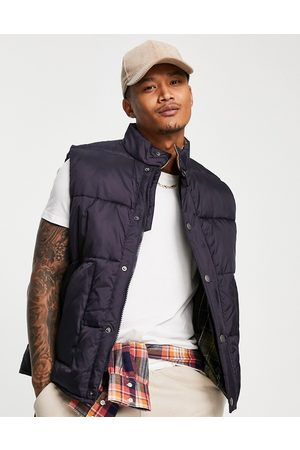 Barbour Beacon Large baffle quilted gilet with corduroy collar in navy