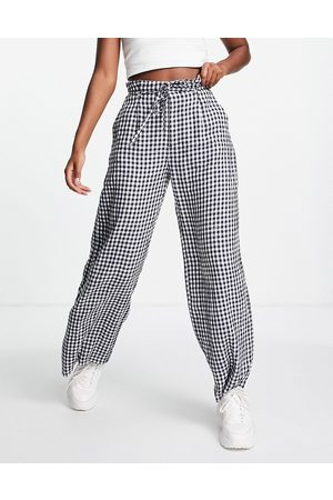 Abercrombie & Fitch Co-ord wide leg tailored trouser in gingham print-Navy