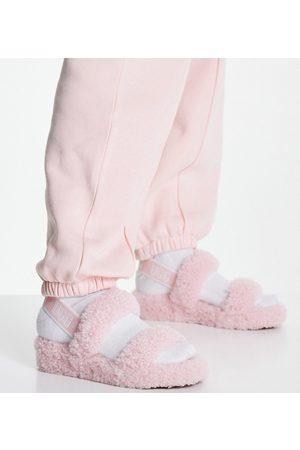 UGG Exclusive Oh Yeah teddy double strap flat sandals in pink cloud