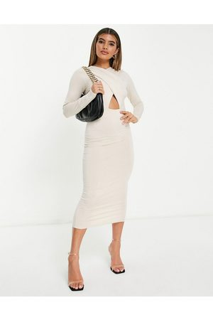 ASOS Long sleeved halter ruched midi dress in stone-White
