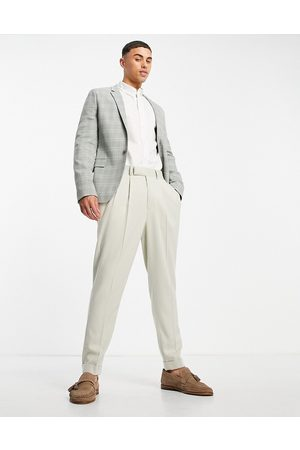 ASOS Wedding super skinny suit jacket with window pane check in grey